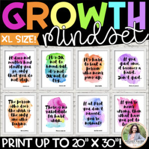Growth Mindset EXTRA-LARGE up to 30×40″ Watercolor Posters {Classroom Decor}