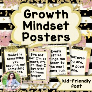 Growth Mindset Posters {36 Chic & Glam Signs: Kid-Friendly Print Font}