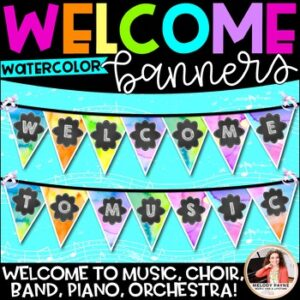 Music Welcome Banner for Piano, Choir, Band, Music, Orchestra {Watercolor}