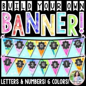 Build Your Own Watercolor Banner! Letters and Numbers 0-9, Six Colors!