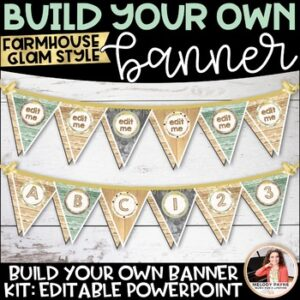 Farmhouse Glam Editable Banner/Bulletin Board Letters