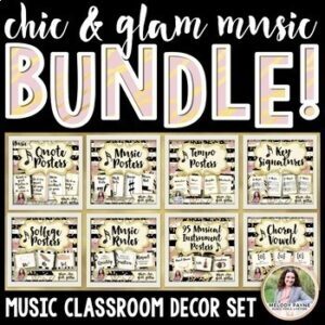 Chic & Glam Music Decor BUNDLE! {Symbols, Instruments, Rules, & More!}