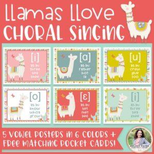 Choral Vowel IPA Posters: Llamas Llove Choral Singing! {Music Class Decor}