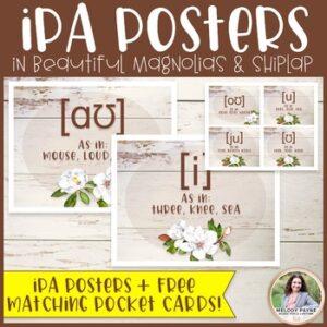 International Phonetic Alphabet Posters: Magnolias & Shiplap {Music Class Decor}