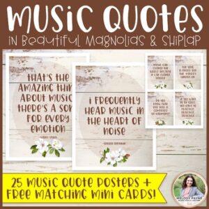 Music Quote Posters Plus FREE Mini Cards {Magnolia Music Class Decor}