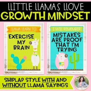 Growth Mindset Posters: Llamas Llove Growth Mindset! {Llama & Shiplap Decor}