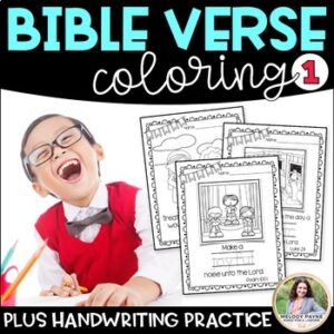 Bible Coloring Sheets BUNDLE {Bible Characters, ABC's, Verses, & Handwriting}