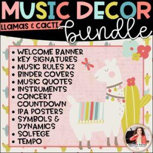 Llama Music Decor BUNDLE! {Posters, Symbols, Instruments, Rules, & More!}