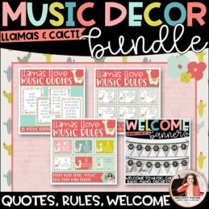 Llama Music Decor BUNDLE! {Posters, Symbols, Instruments, Rules, & More!}