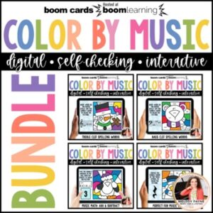 Music BOOM Cards BUNDLE: Color by Music Winter Scenes
