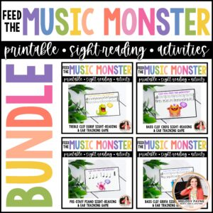 Feed the Music Monster Printable Sight-Reading and Ear Training Games BUNDLE