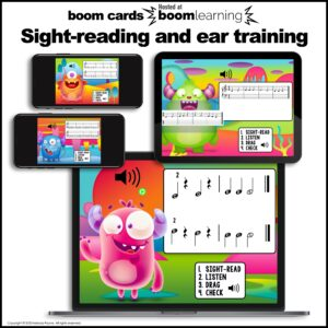 Boom Cards Ear Training Bundle: Feed the Music Monster Treble and Bass Clef
