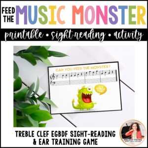 Feed the Music Monster Printable Sight-Reading and Ear Training Game: Treble Clef EGBDF