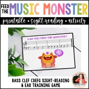 Feed the Music Monster Printable Sight-Reading and Ear Training Game: Bass Clef CDEFG