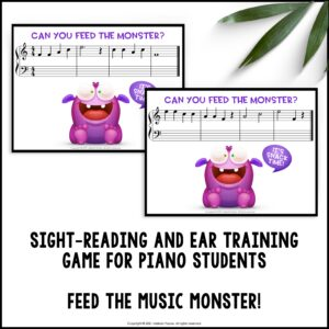 Feed the Music Monster Printable Sight-Reading and Ear Training Game: Treble Clef FACE