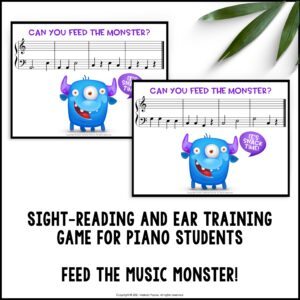 Feed the Music Monster Printable Sight-Reading and Ear Training Game: Bass Clef ACEG