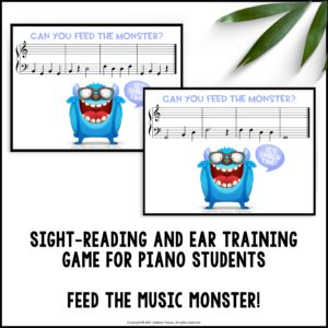 Feed the Music Monster Printable Sight-Reading and Ear Training Game: Bass Clef GBDFA