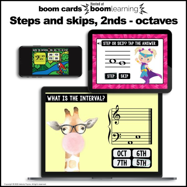 Boom Cards Intervals Bundle: 2nds to Octaves, Steps & Skips