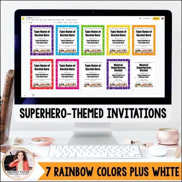 Piano Recital Kit for Google Slides™: Invitations, Programs, Certificates {Superhero}