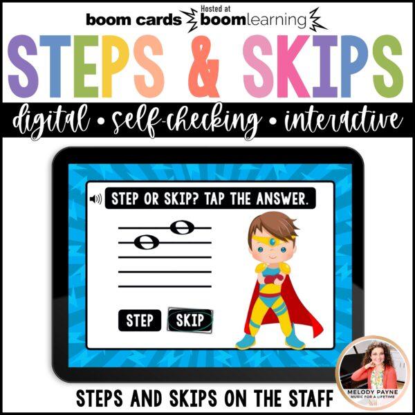 Superhero-themed Boom Cards on an iPad screen