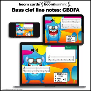 Music BOOM Cards: Bass Line Notes GBDFA Sight-Reading and Ear Training