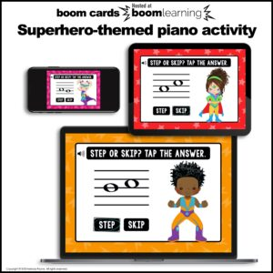 Music Intervals BOOM Cards: Steps and Skips on the Staff {Superhero}