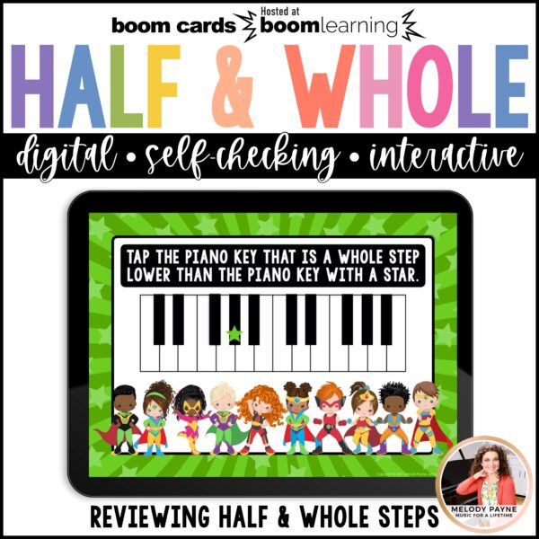 Music BOOM Cards: Half Steps and Whole Steps on the Piano Keys