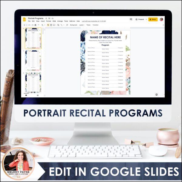 Recital Kit for Google Slides™: Invitations, Programs, Certificates {Flowers}