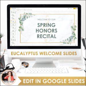 Recital Kit for Google Slides™: Invitations, Programs, Certificates {Eucalyptus}