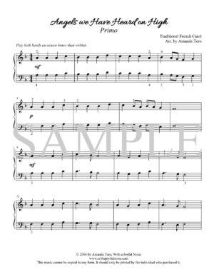 Angels We Have Heard on High – intermediate piano duet