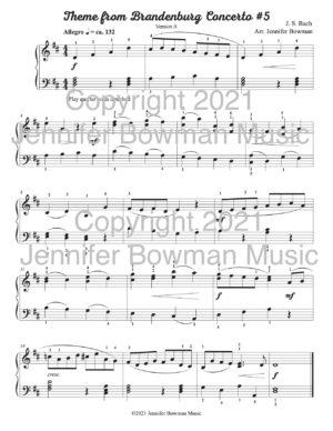 """""""Bachlets"""" Theme from Brandenburg Concerto #5 by J.S. Bach, arranged by Jennifer Bowman"""