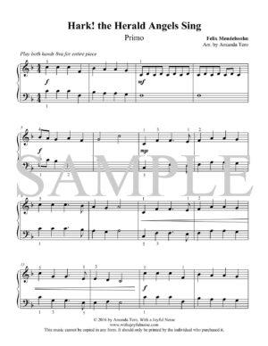 Hark! the Herald Angels Sing – intermediate piano duet