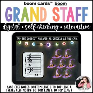 Treble and Bass Clef Boom Cards™: 100 Note Challenge for Halloween