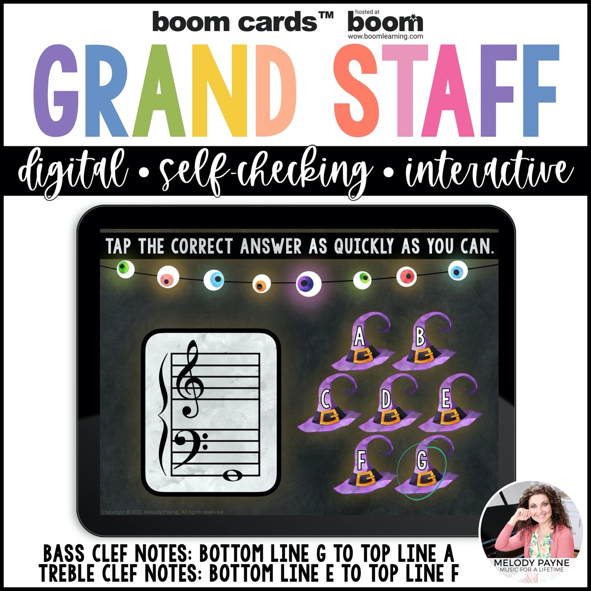 Halloween Boom Cards with eyeballs and witches' hats
