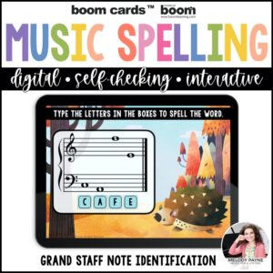Grand Staff Boom Cards™: Musical Spelling Words Autumn Theme