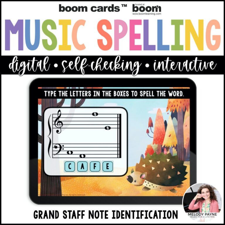 Music note Boom Cards with an Autumn hedgehog theme