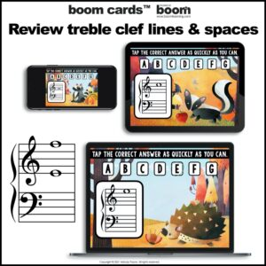 Treble and Bass Clef Boom Cards™: 100 Note Challenge for Autumn