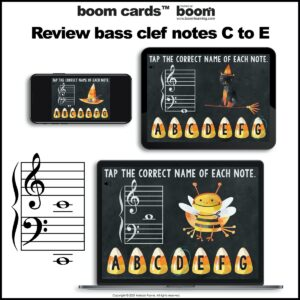 Grand Staff Note Reading for Halloween: Treble and Bass Clef Boom Cards™